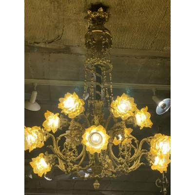 Large Napoleon Bronze Chandelier 3 To 12 Lights, Glass Paste Decor, Rams And Woman's Heads