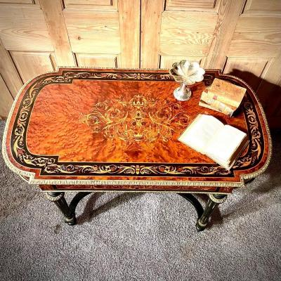 Table Bureau Marquetée Fleurs Napoléon III