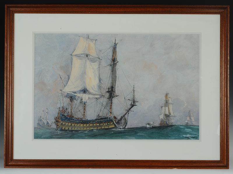 Albert Sebille, Painter Of The Navy - Watercolor Gouache: Louis XIV Vessel Wing