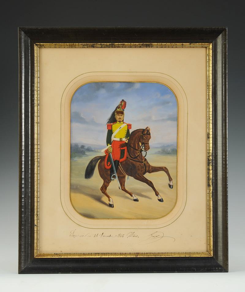 Souvenir De RÉgiment : Photo GouachÉe D'un Dragon, Second Empire.