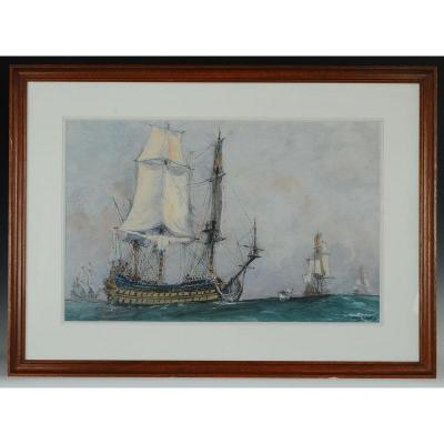 Albert Sebille, Painter Of The Navy - Watercolor Gouache: Louis XIV Vessel Wing