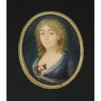 Miniature Portrait On Ivory Representing A Young Woman In Dress, Revolution - First Empire