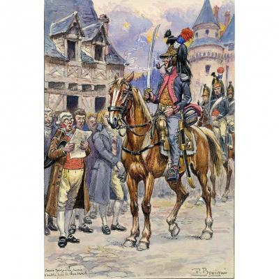 Bénigni Pierre : Aquarelle Originale,18ème Dragons 1796, Officier Tenue De Campagne, Début XXèm