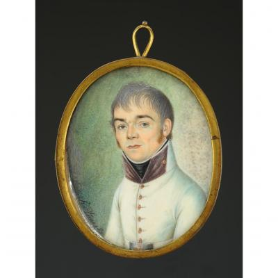 Klimo Eustachius (1777-1849): Miniature Portrait On Ivory Representing An Officer