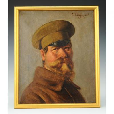 L. Ducourant: Oil On Canvas Of An Officer Of The Russian Expeditionary Corps