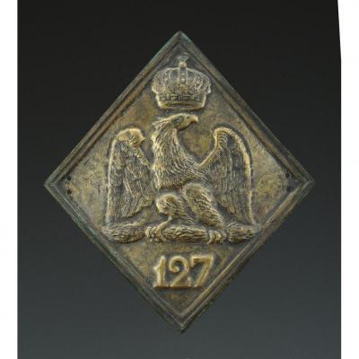Plaque De Shako Du 127ème Régiment d'Infanterie De Ligne, Modèle 1806, Premier Empire.