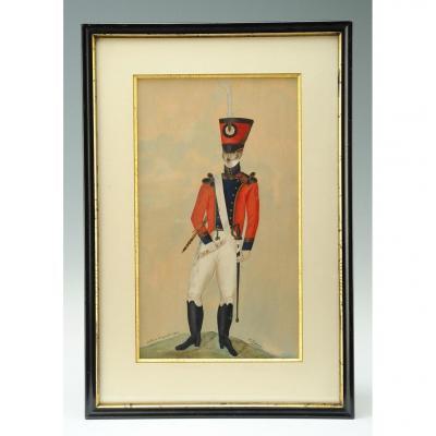 Krauss F., Clarinettiste d'Un RÉgiment d'Infanterie : Aquarelle Originale, Restauration.