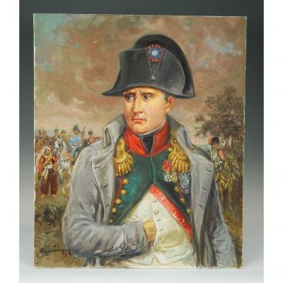 Leliepvre Eugène : Portrait De l'Empereur Napoléon 1er En Redingote, Huile Sur Toile, Fin XXème