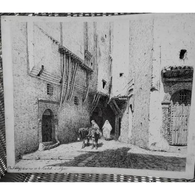 Orientaliste, Dessin à l'Encre Par Paul Mery  1894 : La Kasbah à Alger