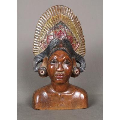 Buste Polychrome En Bois, Indonesie, Bali Vers 1900-1920.