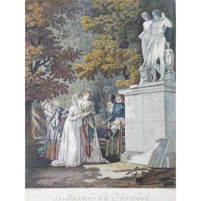 Gravure , Fin XVIIIeme  Début XIXeme , l' Admiration De l' Antique