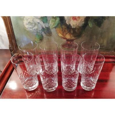 8 Verres Baccarat, Modèle Chauny, à Whisky Ou Orangeade
