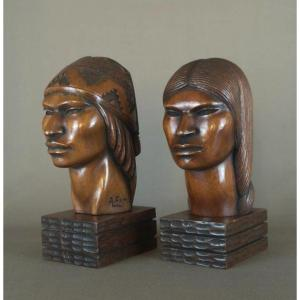 South America, Bolivia, Wooden Busts By Sculptor A. Franco