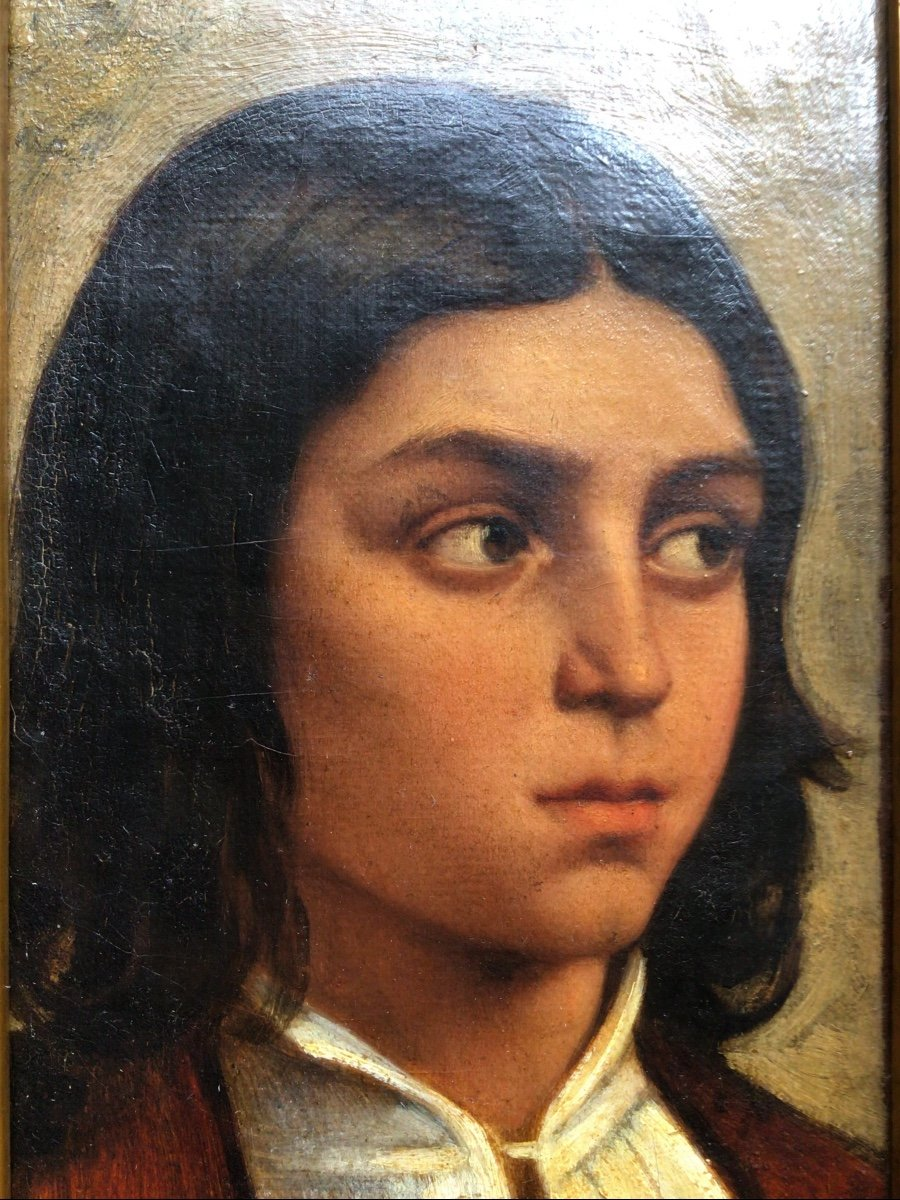 Oil Portrait Of A Young Italian Boy Middle 19th