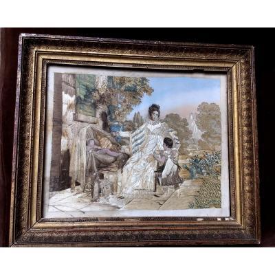 Tableau Broderie Dite Peinture à L'aiguille , Femme Enfant Et Jouets 1820