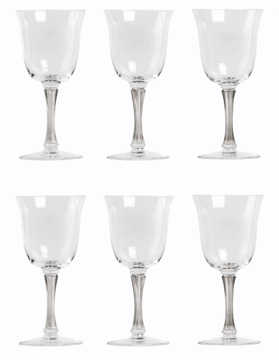 1939 René Lalique 6 Wine Glasses Barsac Grey Stained Glass