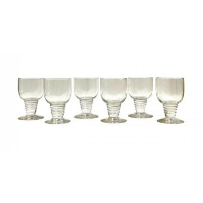1937 René Lalique - Suite De 6 Verres Tonnerre - Verre Blanc