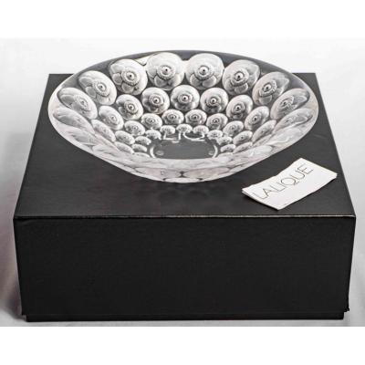 Lalique France - Bowl Anemones Clear Crystal With Black Enamel - New With Box