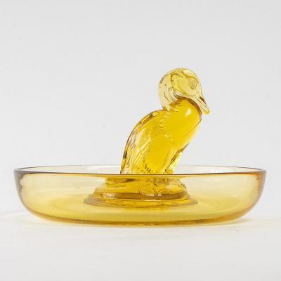 1925 René Lalique - Cendrier Baguier Canard Verre Jaune