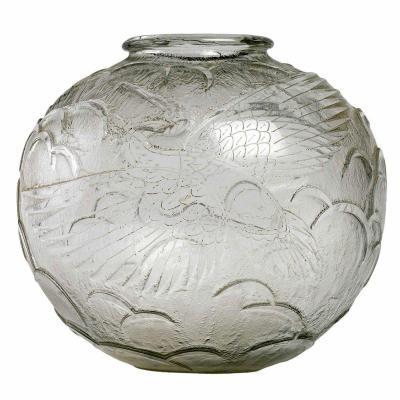 "1925 Daum - Vase ""a La Cigogne"" Acid Etched Glass - Stork"