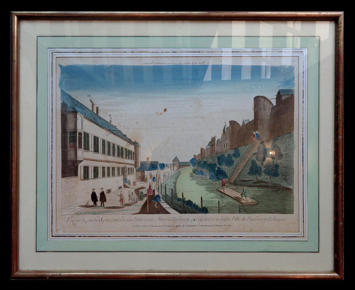 Vue d'optique 18ème - Vue d'Augsbourg depuis les fossés