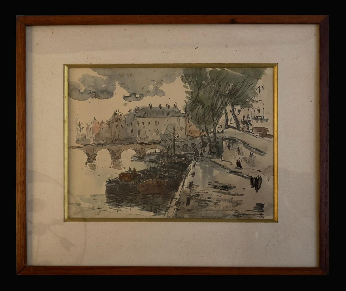 Watercolor Fernand Herbo (1905-1995) Quays-of-seine-at-the-bridge 32 X 22