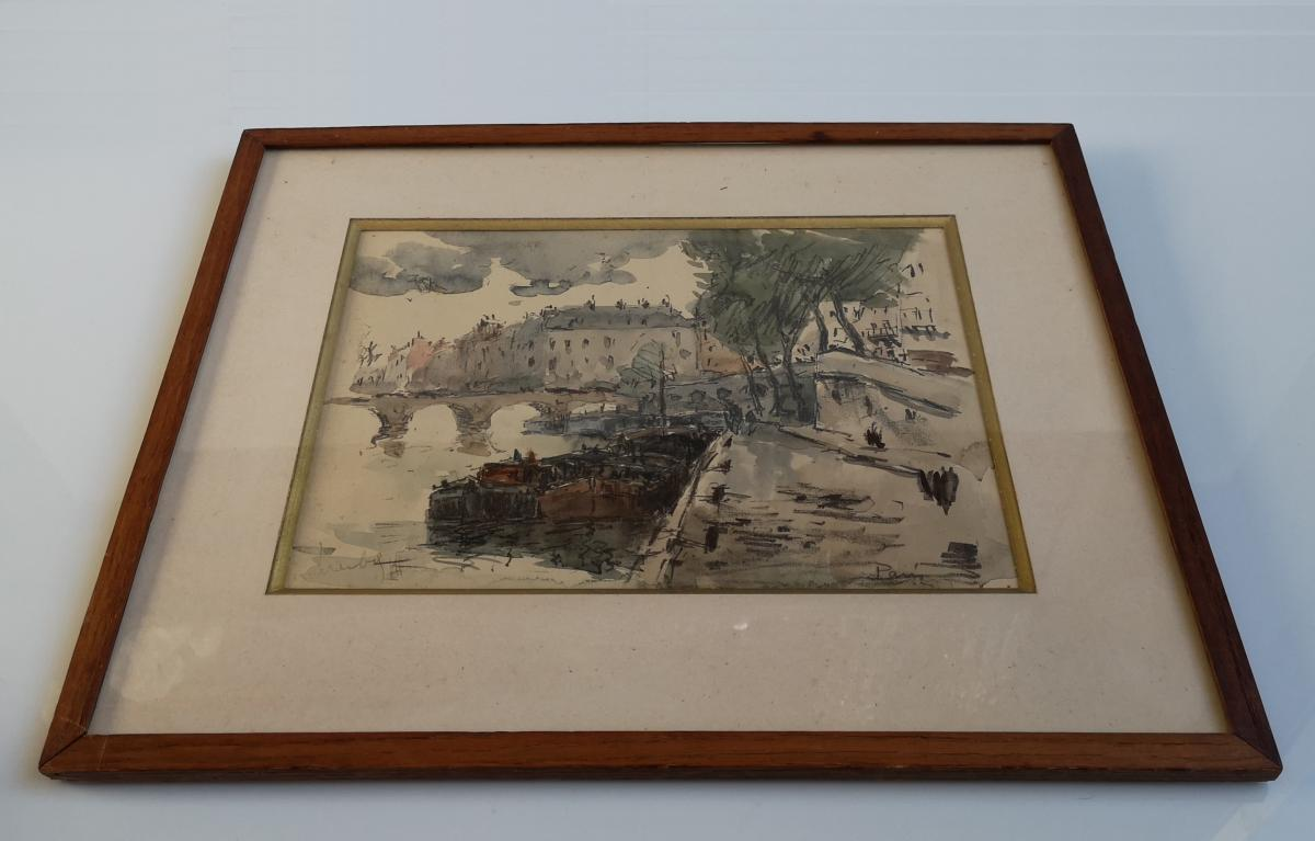 Watercolor Fernand Herbo (1905-1995) Quays-of-seine-at-the-bridge 32 X 22-photo-2