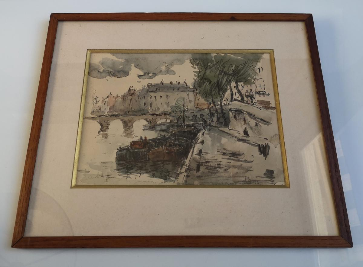 Watercolor Fernand Herbo (1905-1995) Quays-of-seine-at-the-bridge 32 X 22-photo-3
