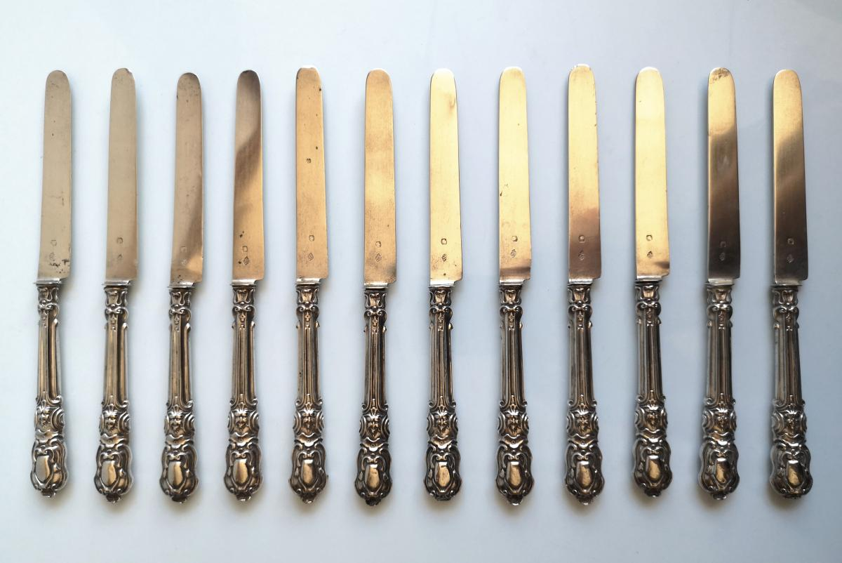 12 Louis XV Style Silver And Silver Knife Entrance Knives
