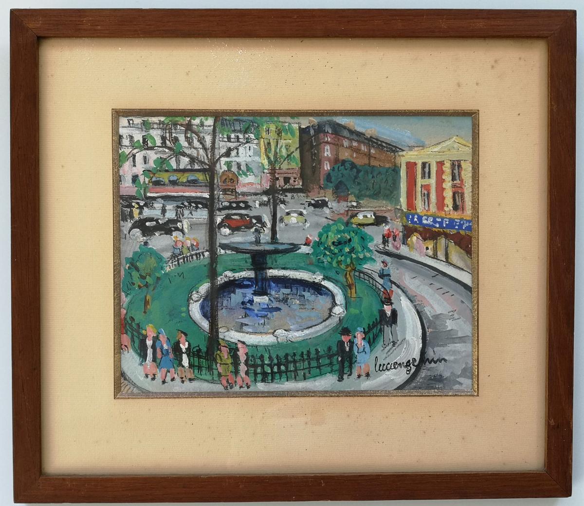 """Lucien Genin . Gouache """"paris Place Pigalle"""" 20.5 X 27 Cm Certificat"""