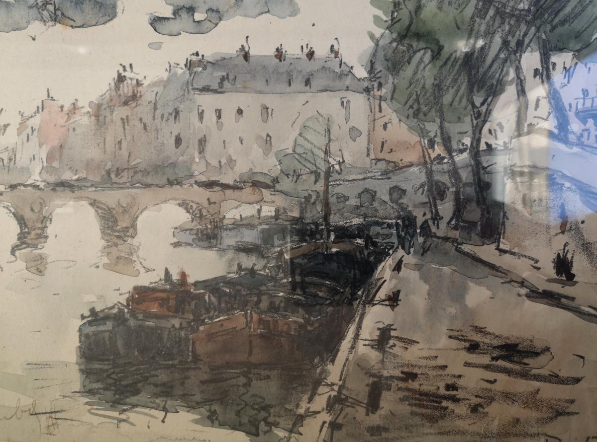 Watercolor Fernand Herbo (1905-1995) Quays-of-seine-at-the-bridge 32 X 22-photo-4