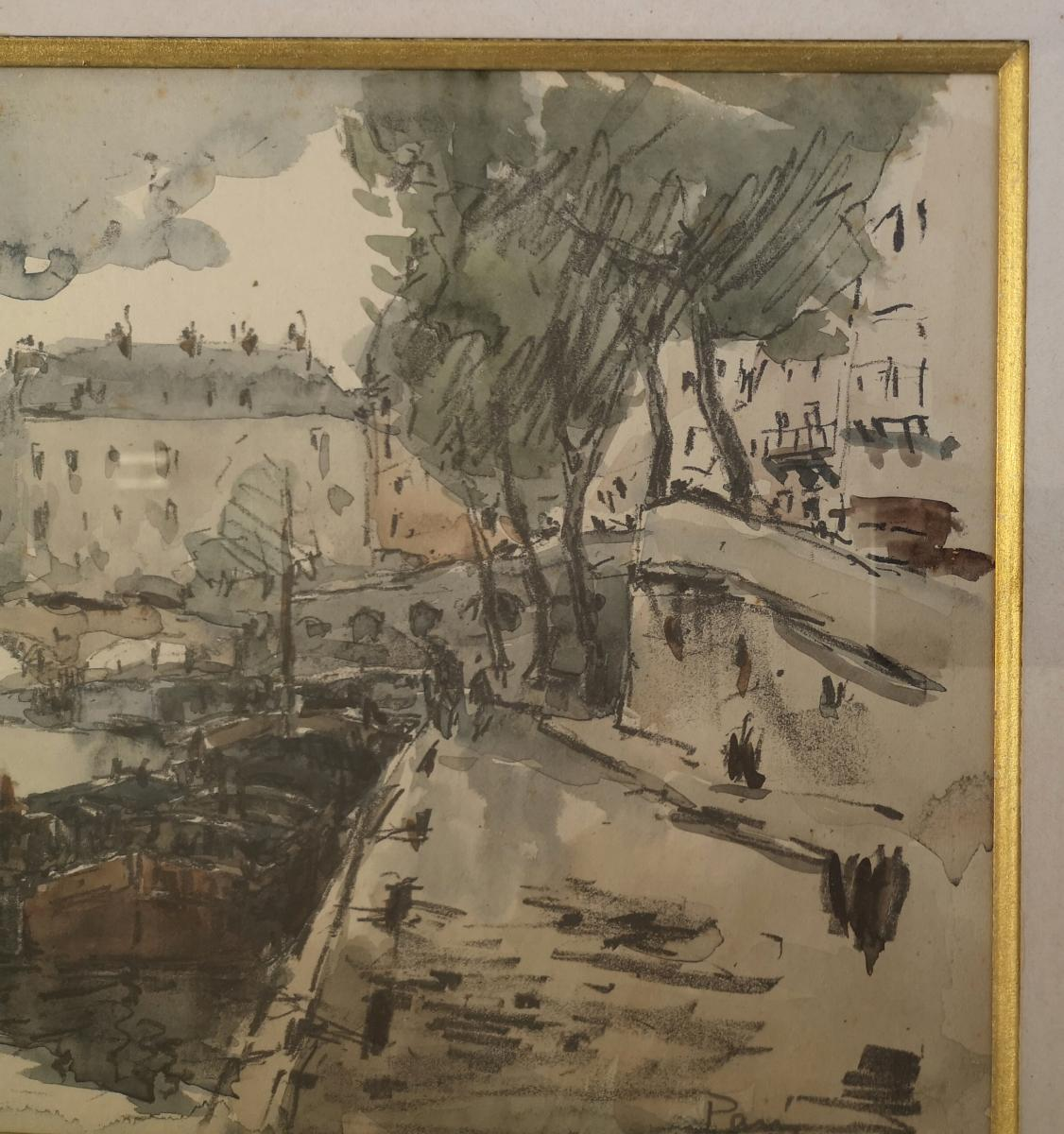 Watercolor Fernand Herbo (1905-1995) Quays-of-seine-at-the-bridge 32 X 22-photo-5