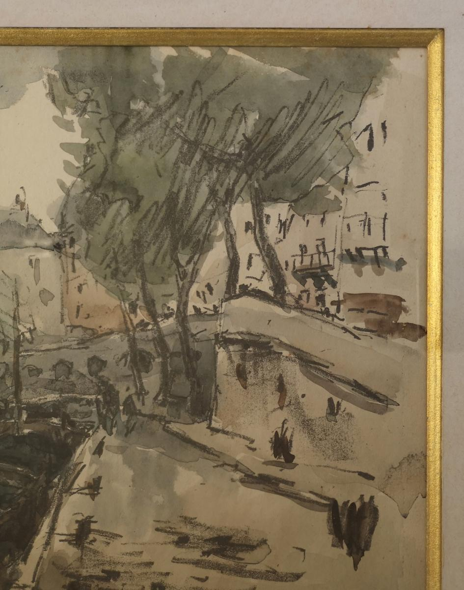 Watercolor Fernand Herbo (1905-1995) Quays-of-seine-at-the-bridge 32 X 22-photo-6