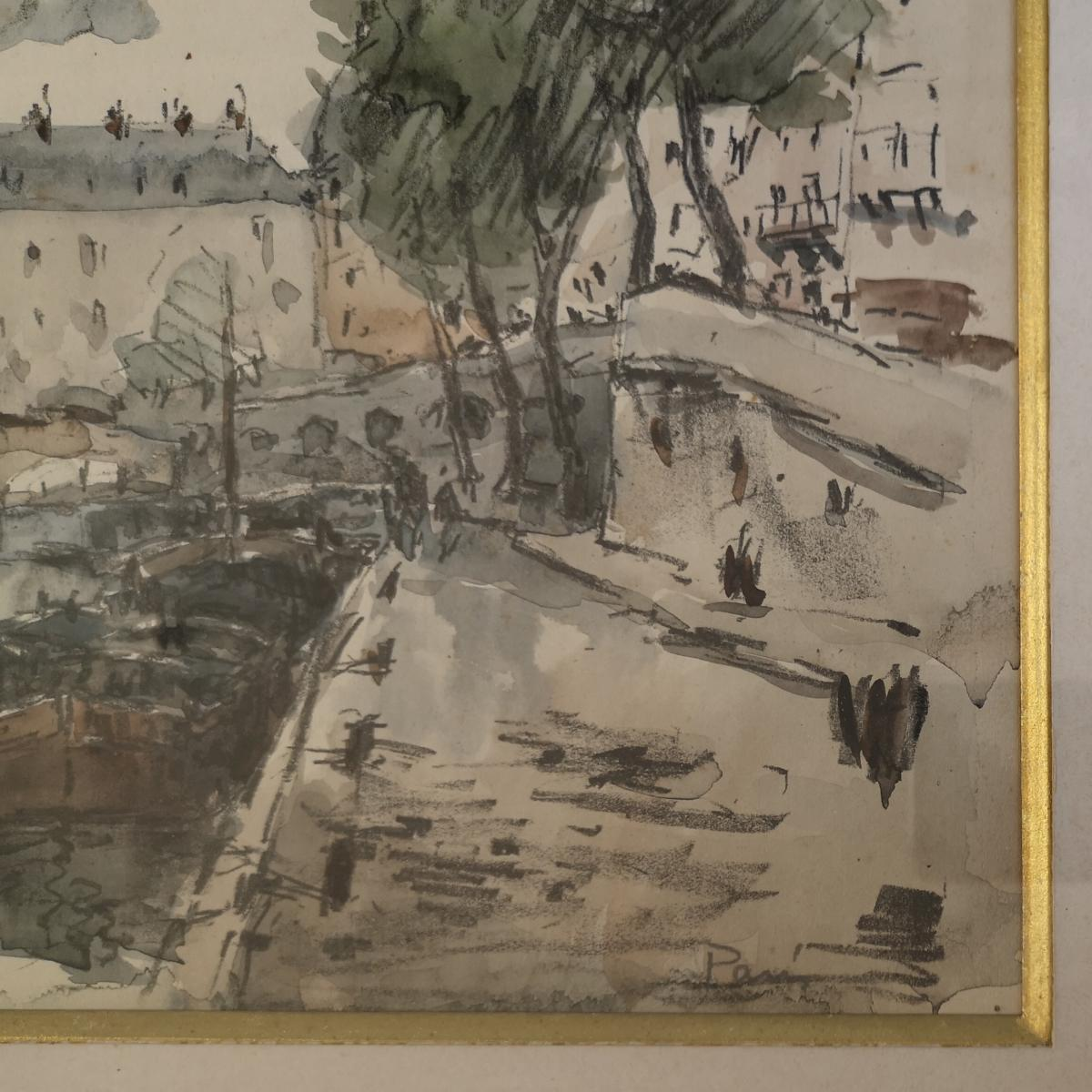 Watercolor Fernand Herbo (1905-1995) Quays-of-seine-at-the-bridge 32 X 22-photo-7