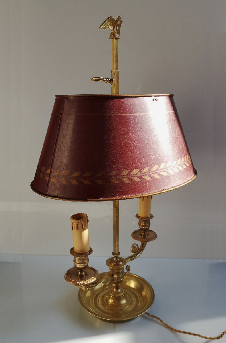 Gilt Bronze Hot Water Bottle Lamp XIXth Century Two Arms Of Light Empire Style