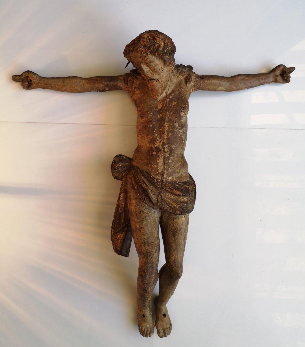 XVI ° Important Christ Carved Wood Polychromed Golden 53 Cm Expert Laurence Fligny