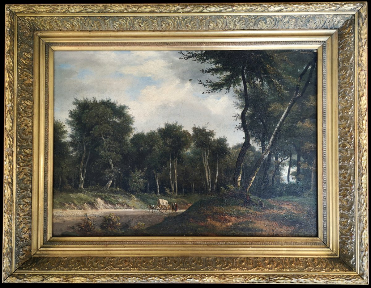 XIX ° Barbizon Joly A Animated Landscape With The Cart And Peasants Hst 35 X 45