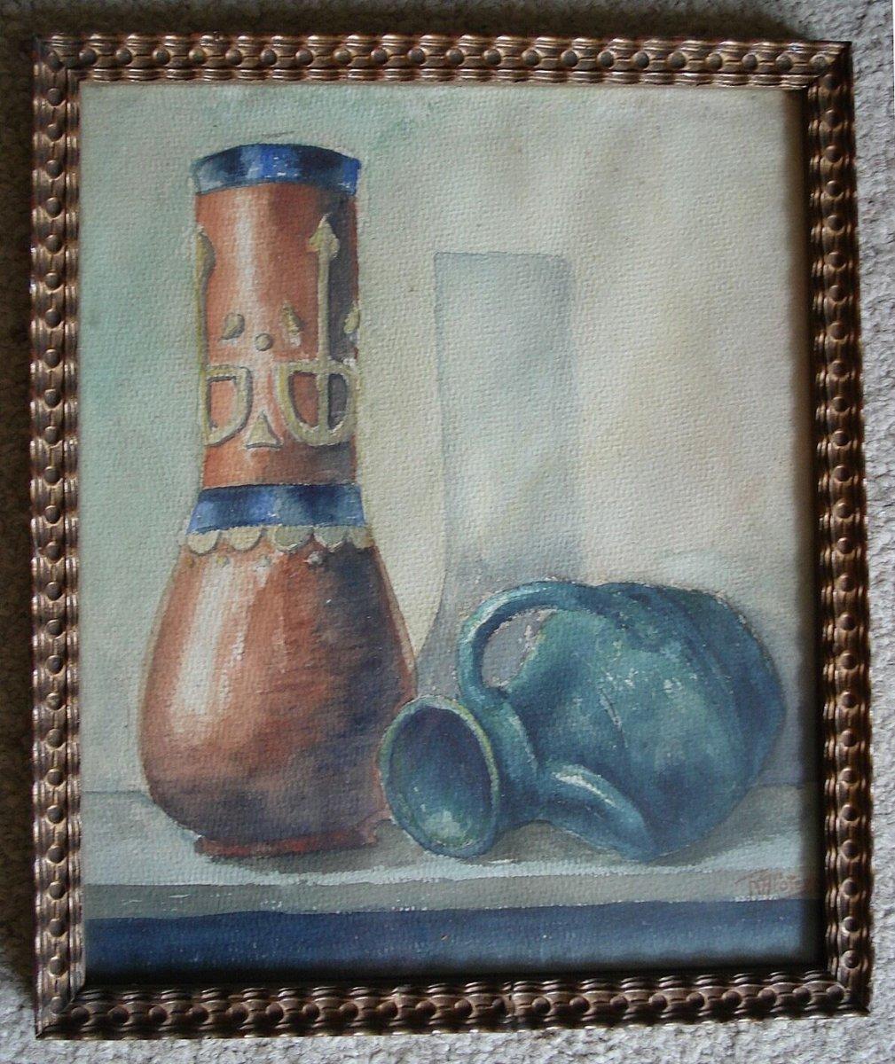 Aquarelle - Nature Morte Aux Vases 1925 - Ecole Belge