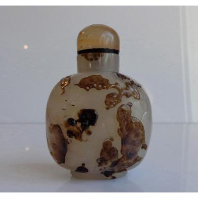 Chinese Snuff Bottle XVIII Carved Agate Spotted Brown