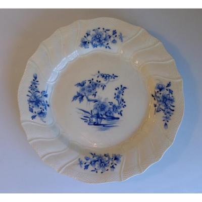 Tournai 18eme Assiette Décor Floral Camaïeu Bleu