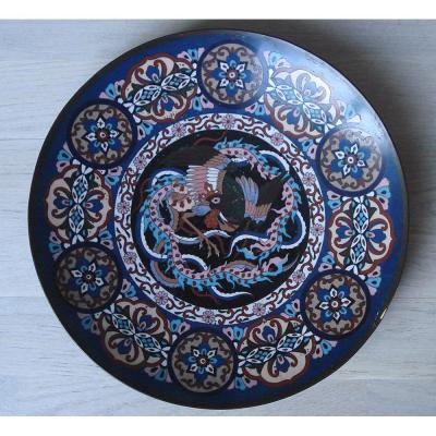 China Nineteenth Cloisonne Flat Black And Blue Background Decor Bird Of Paradise. 30 Cms