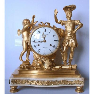 Pendule en bronze doré - Epoque Louis XVI - LA PAIX VICTORIEUSE - Ht 44 cm