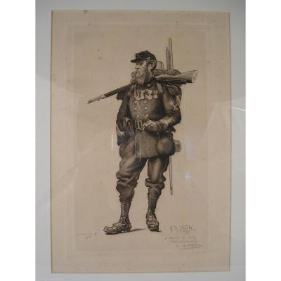 """De Neuville Lithography """"soldier"""" By 1877 Oberlin With Dedication To Oudry"""