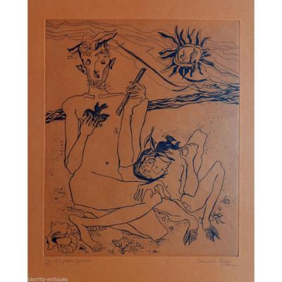 """Camille Berg (née En 1904). """"les Petits Faunes"""". Eau-forte Sur Papier De Couleur"""