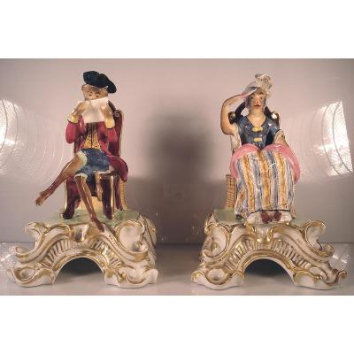 Statuettes Satiriques - Singes Aristocrates - Porcelaine De Paris Fin 18ème