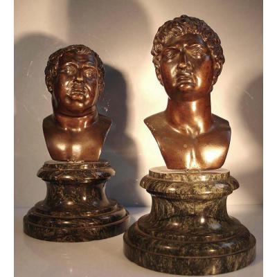 2 Bustes Empereurs Romains Dont Vitellius - Epoque Renaissance Italie Du Nord