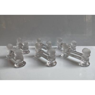 Baccarat XIX° Suite De 6 Porte-couteaux En Cristal Modele Houdon