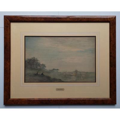 Foreau Henri 1866-1938 Peintre Paysagiste Paysage Lacustre Animé 22.5 X 34.5