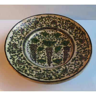 Raoul Lachenal (1885-1956) Grand Plat Creux Faience Décor Stylisé Pampres 35 Cm