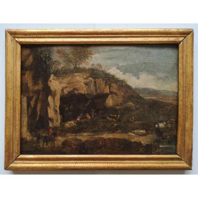 "School XVIII ""shelter Shepherds"" Landscape Of Italy 29 X 41 Cm"